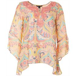 Petite Medallion Embroidered Bell Sleeve Top
