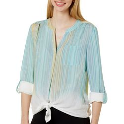 Petite Striped Button Down Tie Front Top