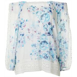 Zac & Rachel Petite Floral Lace Trim Off The Shoulder Top