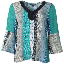 Petite Mixed Patchwork Bell Sleeve Top