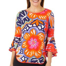 Coco Bianco Petite Floral Print Bell Sleeve Top
