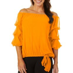 Coco Bianco Petite Solid Off The Shoulder Ruffle