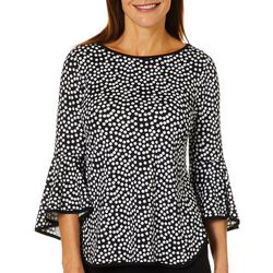 Coco Bianco Petite Contrast Trim Pollka Dot Bell Sleeve Top