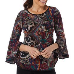 Coco Bianco Petite Paisley Print Embellished Bell Sleeve