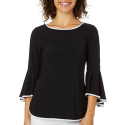Coco Bianco Petite Contrast Trim Bell Sleeve Top
