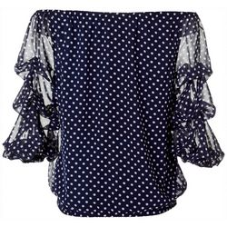 Petite Polka Dot Off The Shoulder Ruffle Top