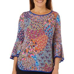 Petite Mixed Print Bell Sleeve Top