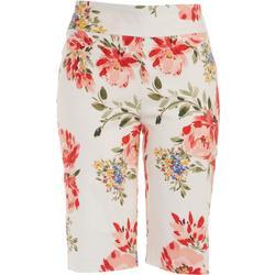 Petite White Floral Bermudal Shorts
