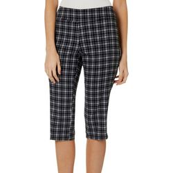 Petite Plaid Pull On Capris