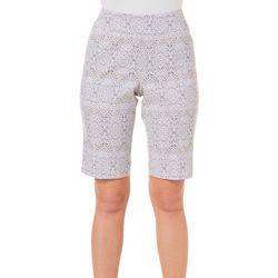 Petite Super Stretch Damask Bermuda Shorts
