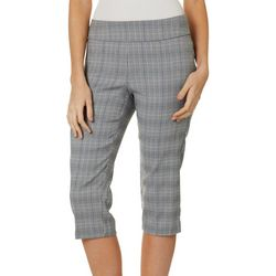 Petite Plaid Print Pull On Capris