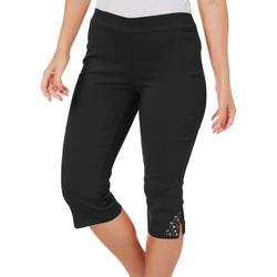 Petite Pull On Capris With Glitter Detail