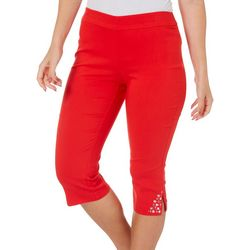 Counterparts Petite Solid Pull-On Embellished Gem Capris