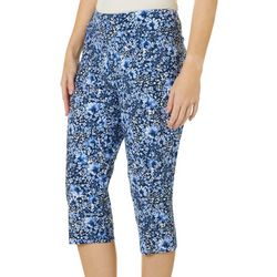 Petite Floral Print Pull On Capris