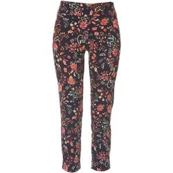 Petite Elastic Floral Ankle Pants
