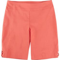 Petite Solid Cross Hatch Hem Skimmer Shorts