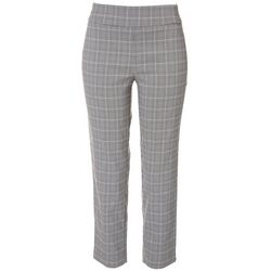 Counterparts Petite Pull On Plaid Printed Ankle Pants