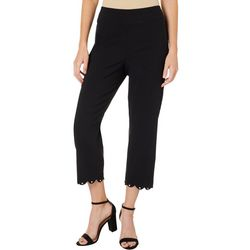 Counterparts Petite Solid Scallop Embellished Hem Capris