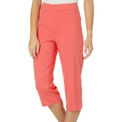 Petite Solid Button Hem Pull-On Capris