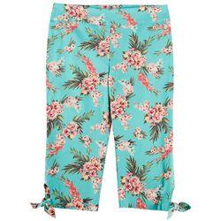 Counterparts Petite Tropical Floral Tie Hem Capris