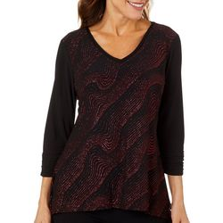 NY Collection Petite Glitter Swirl Embellished Top