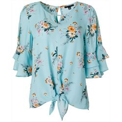 Petite Floral Tie Front Ruffle Sleeve Top