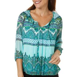 Sara Michelle Petite Mixed Paisley Round Neck Top