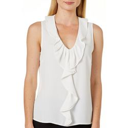 Kasper Petite Solid Ruffle Front Sleeveless Top