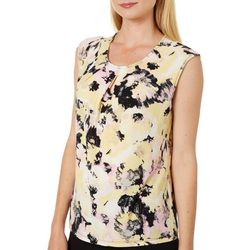 Kasper Petite Painted Strokes Keyhole Sleeveless Cami Top