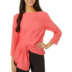 L.N.V. Petite Solid Twist Front Boat Neck Top