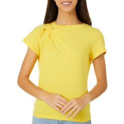 L.N.V. Petite Solid Twist Detail Short Sleeve Top