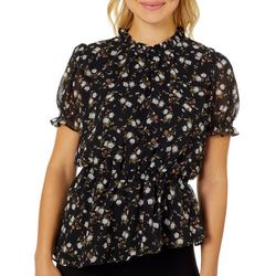 L.N.V. Petite Floral Ruffle Neck Short Sleeve Top