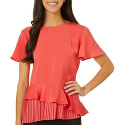 L.N.V. Petite Solid Ruffle Detail Short Sleeve Top