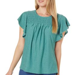Chenault Petite Textured Solid Smocked Neckline Top
