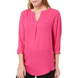 Sami & Jo Petite Solid Split Neck Top