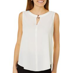 Sami & Jo Petite Solid Keyhole Metal Ring Sleeveless Top