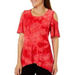 Sami & Jo Petite Cold Shoulder Sequin Sharkbite Fiesta Top
