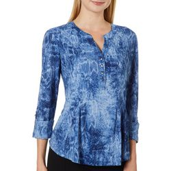 Sami & Jo Petite Snake Skin Print Fit And Flare Henley Top