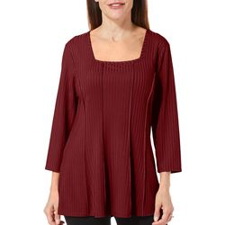 Sami & Jo Petite Solid Square Neck Long Sleeve Top