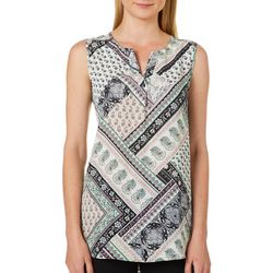 Sami & Jo Petite Floral Patchwork High-Low Sleeveless Top
