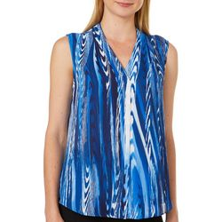 Sami & Jo Petite Striped Wood High-Low Sleeveless Top