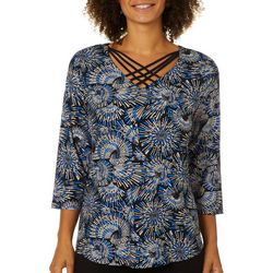 Sami & Jo Petite Abstract Sparkle Crisscross Neck Top
