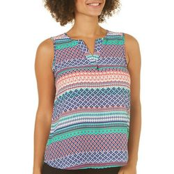Sami & Jo Petite Diamond Stripe Split Neck Sleeveless Top