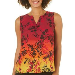 Sami & Jo Petite Floral Ombre Split Neck Sleeveless Top