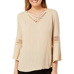 Sami & Jo Petite Boho Crochet Crisscross Neck Top