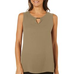 Sami & Jo Petite Solid Keyhole Gold Bar Sleeveless Top