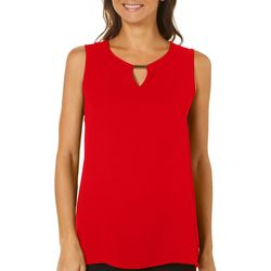 Sami & Jo Petite Solid Keyhole Silver Bar Sleeveless Top