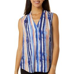 Sami & Jo Petite Brushstroke Striped High-Low Sleeveless Top