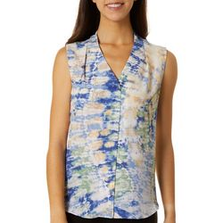 Sami & Jo Petite Watercolor Print High-Low Sleeveless Top