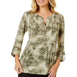 Sami & Jo Petite Mixed Print Pleated Roll Tab Top